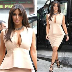 Find More Celebrity-Inspired Dresses Information about New Celebrity Style Kim Kardashian Cream Colored  Bandage Celebrity Dresses Cap Sleeve Draped Knee Length Short Party Dress,High Quality dress colors,China dresses female Suppliers, Cheap dress sweet from Amanda's Dress House on Aliexpress.com