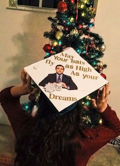 Graduation Party Decor Discover 16 Graduation Cap Ideas Inspired For And By The Office Lovers In Your Year 16 Graduation Cap Ideas Inspired For And By The Office Lovers In Your Year Funny Graduation Caps, Graduation Cap Designs, Graduation Cap Decoration, Grad Cap, Graduation Party Decor, High School Graduation, Grad Parties, Graduation Quotes, Graduation Ideas
