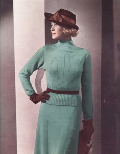 A lovely aqua and brown look from Vogue, 1930s. #vintage #1930s #fashion