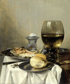 Still life with salt cellar painted by Pieter Claesz. 1627. The Rijksmuseum image bank collection