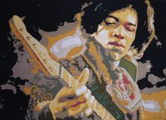 Art quilt by Dorte Jensen, Jimmy Hendrix 80 x 110 cm www. Fabric Pictures, Animal Quilts, Contemporary Quilts, Art For Art Sake, Mini Quilts, Portrait Art, Portraits, Free Motion Quilting, Fabric Art