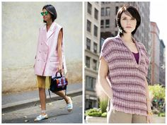 Lady of Fashion: We love Leandra Medine of manrepeller.com! Her fashion sense and humor make a winning combo. Try a softer version of her look (pictured on the left) with the York Poncho Top (on right) in S. Charles' AUDRA & CELINE.