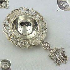 ANTIQUE DUTCH Solid Silver TEA STRAINER 1910 Hallmarked Sterling Ornate