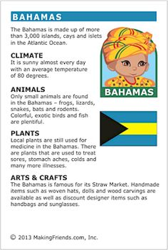 MakingFriends Facts about Bahamas Printable Thinking Day fact card for our passports. Perfect if you chose Bahamas for your Girl Scout Thinking Day or International Night celebration. Teaching Geography, World Geography, Geography Worksheets, Gs World, Around The World Theme, Little Passports, Girl Scout Activities, World Thinking Day, Kids Education