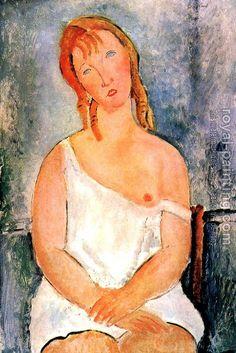 Girl in a White Chemise - Amedeo Modigliani                                                                                                                                                                                 Mais