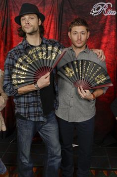 Jared Padalecki  Jensen Ackles. The only men I know who can hold a chinese folding fan and still look manly.