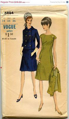 ON SALE 1960s Dress Pattern Vogue 6884 Mod A by GreyDogVintage, $12.80