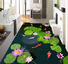 décoration d'intérieur revêtement de sol vinyle pvc personnalisé zen nénuphar poisson