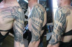 alien biomechanical tattoo on left half sleeve wallpaper