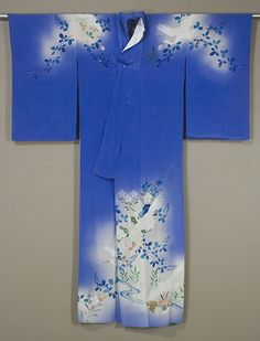 Front of Sheer Japanese Irosode  Mid 1950s  Silk crepe formal hand-painted  kimono