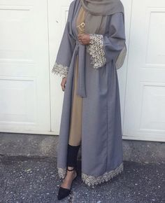 Grey abaya with lace application - check out: Esma Arab Fashion, Islamic Fashion, Muslim Fashion, Modest Fashion, Trendy Fashion, Modest Dresses, Modest Outfits, Modest Wear, Long Dresses