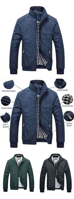 US$35.10 (48% OFF) Men's Fall&Winter Casual Outfit: Solid Color Stand Collar Jacket Coat