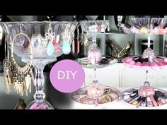 DIY nail polish rack and DIY jewelry display jewelry holder, each under $6 to make!  Easy do it yourself jewelry display and nail polish rack that you can make in just an hour with items from around the house or from the 99 Cent Store!      What you need:  $1 plates, trays, and glasses from the 99 Cent store (or from home or thrift store)  Glue gun  ...