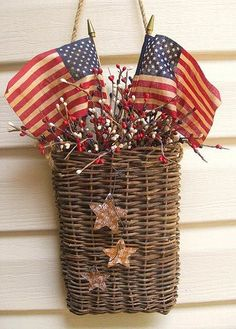 Love the basket and the rusty stars on the front... a neat patriotic vignette!
