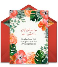 "Free Kentucky Derby party invitations! Gorgeous Kentucky Derby online invitations you can personalize and send via email. This ""Summer Garden"" design is perfect for a party filled with cocktails and fancy hats."