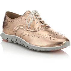 Cole Haan Zerogrand Metallic Leather Wingtip Oxford Sneakers ($240) ❤ liked on Polyvore featuring shoes, sneakers, apparel & accessories, rose gold, leather shoes, leather oxfords, wingtip oxford shoes, leather oxford shoes e leather brogues