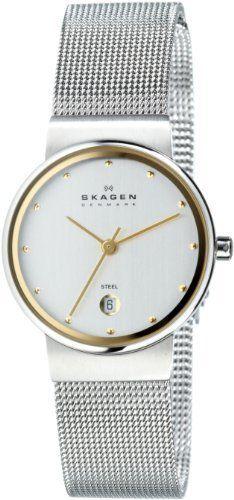 Skagen Women's 355SGSC Two-Tone Mesh Watch Skagen, http://www.amazon.com/dp/B0001HIT1Y/ref=cm_sw_r_pi_dp_guYaqb159WY8D