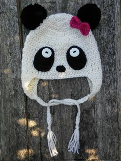 Cute panda beanie with pom poms