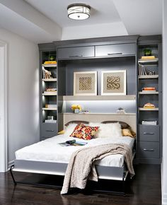 A space-saving wall bed (also known as a Murphy bed) brings a lot of benefits to your home. Here are 8 great reasons for buying a wall bed. Room Design, Bed, Home, Bedroom Storage, Bedroom Design, Small Bedroom, Home Bedroom, Modern Bedroom, Wall Bed