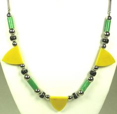 Green and Yellow Jakob Bengel Galalith Necklace
