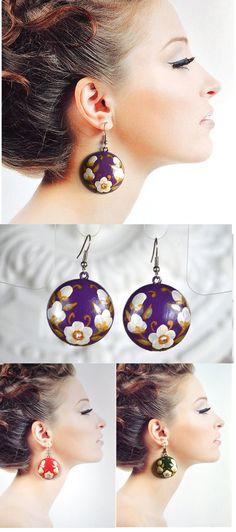 Purple earrings of wood with hand painted Purple and white jewelry Handmade wooden earrings tender  earrings folklore earrings Boho Jewelry (14.00 USD) by VivaArcenciel
