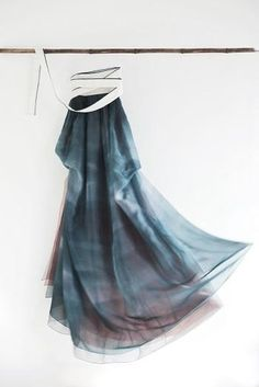 turquoise skirt, hemp, 한복 hanbok
