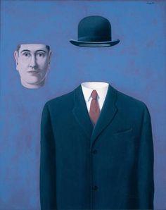 """peinture belge : René Magritte, 1966, """"le pélerin"""", homme, bleu, surréalisme, 1960s"""