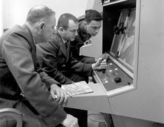 Strategic Air Command personnel interpreting reconnaissance photo during the Cuban Missile Crisis, 1962.
