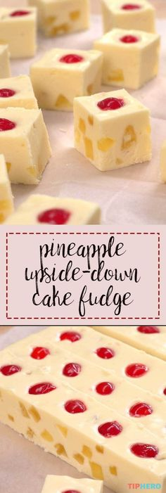 This recipe wraps two of our favorite things up into one: fudge & pineapple upside-down cake! It's the perfect blend of that tropical flavor and a rich fudge. Köstliche Desserts, Delicious Desserts, Yummy Food, Plated Desserts, Pineapple Upside Down Cake, Think Food, Homemade Candies, Homemade Marshmallows, Homemade Candy Recipes