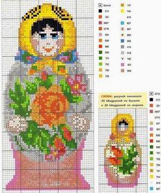 Craft avec amour ... par Lu Guimarães: Matrioscas en point de croix