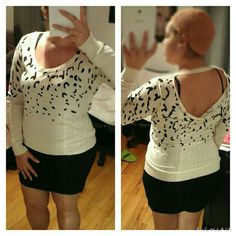 Cream leopard open back top with body con skirt Great condition. Top and skirt are included as a bundle. Skirt is from h & size medium but fits like a large. Both top and skirt fit like a large and are both stretchy.   Fits size 10/12  My size: XL  or  14/16 Bust 38D    Model: size M/L or 6/8  Bust 36D Tops Tees - Long Sleeve