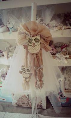 Λαμπάδα βάπτισης με θέμα την κουκουβάγια Girls Dresses, Flower Girl Dresses, Candels, Christening, Greek, Victorian, Party Ideas, Decoration, Wedding Dresses