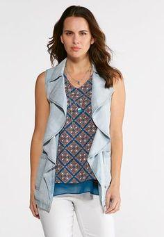 dde6407572155 Cato Fashions Waterfall Chambray Vest  CatoFashions Cato Fashion Plus Size