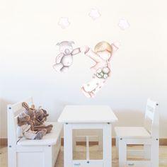 Decoración infantil Il Mondo di Alex, Vinilos - Stickers efecto pintado a mano, DESTINO HACIA NUNCA JAMAS... personalizado con nombre y a medida.