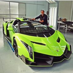 Valentino Balboni next to one of the most wicked Veneno's out there!