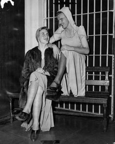 Two men arrested for dressing in drag, Los Angeles, California, United States, 1946, photographer unknown.