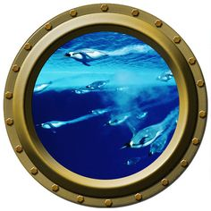 Swimming Empeor Penguins Porthole Wall Decal via Etsy