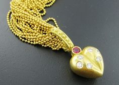 Ferro Jewelers - Estate Jewelry | 18K HEART NECKLACE WITH DIAMONDS AND RUBIES