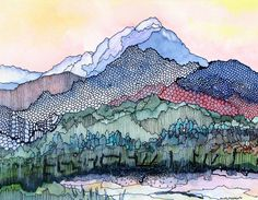 Abstracted mountain scene >> watercolor - such nice details and colors...
