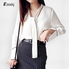 Perspective Women Bow Shirt Fashion Shawl Collar Blouses Female Black White Shirts Long Sleeve Chiffon Blouse Tops