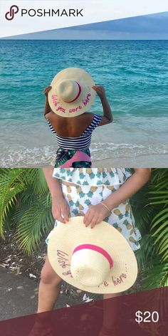 "Straw summer hat ""Wish you were here"" used a couple time during my trip but in great shape... using zara for exposure Zara Accessories Hats"