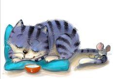 Cat Mouse, Pencil Illustration, Cat Art, Childrens Books, Sketches, Animation, Watercolor, Art Prints, Cats