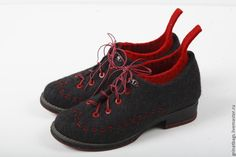 """Купить Туфли """" Мак"""" - темно-серый, вишневый цвет, мериносовая шерсть, металлическая фурнитура"""