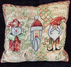 "Christmas Throw Pillow Woven Tapestry Santa Elf Snowman 17""x19"" #Unbranded"