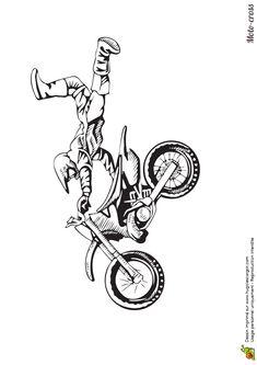 coloriage d un homme faisant un petit saut avec son moto cross coloriage pinterest. Black Bedroom Furniture Sets. Home Design Ideas