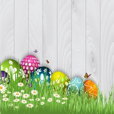 Easter Eggs with butterflies Background Free Vector