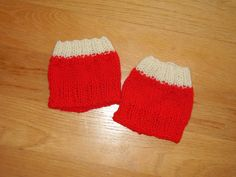 Knitted boot cuffs in red and white by TenderTatter on Etsy