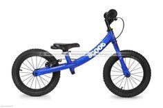 Duży niebieski rowerek biegowy Ridgeback Scoot XL posiada regulację siodełka od ok. 39-55 cm, regulację wysokości kierownicy, kierownica bez blokady skrętu, pompowane opony 14 cali, hamulec tylnego koła typu v-brake.