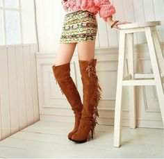 Stylish Fashionable tassel beautiful leg length-High Heels Boots  High Heels Boots (black,brown,features,red)