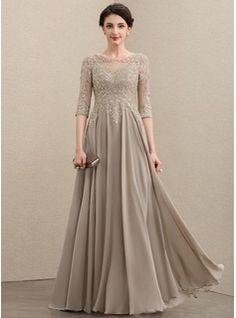 A-Line/Princess Scoop Neck Floor-Length Chiffon Lace Mother of the Bride Dress With Beading Sequins Cascading Ruffles - JJ's House Mother Of Groom Dresses, Mother Of The Bride, Dress Brokat, Gaun Dress, Fuschia Dress, Mom Dress, Dress Prom, Chiffon Evening Dresses, Bride Gowns